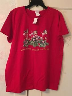 Hanes Red Graphic T- Shirt For Women With Flowers, 100% Cott