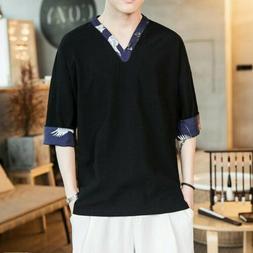 Retro Men Comfort T-shirt Summer Linen V-neck Youth Casual T