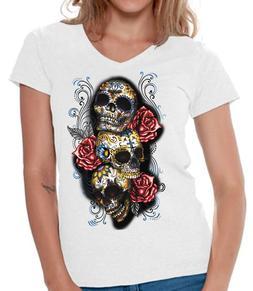 Skull V-neck Shirts T shirts for Women  Three Sugar Skulls R