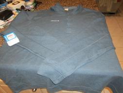 Columbia Sportswear Long Sleeved Henley Shirt - Blue - 4XLT