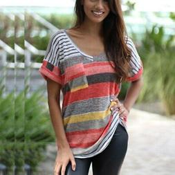Striped T-shirt for Women V-neck Blouse Summer Short-sleeve