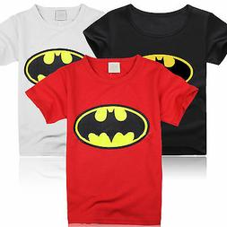 Summer Children Kids Boy Batman Short Sleeve Tops Crew Neck