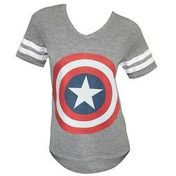 Captain America Symbol Juniors Varsity Athletic Grey T-Shirt