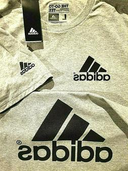 Adidas t shirt Men's Gray black print sleeve, small front &