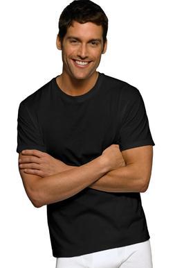 Hanes FreshIQ TALL Men's Crewneck T-Shirts Undershirt Black