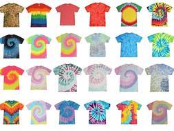 Tie Dye T-Shirts Multi-Color Kids & Adult  100% Cotton Color