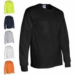 Gildan Ultra Cotton Long Sleeve Mens T Shirt with Chest Pock