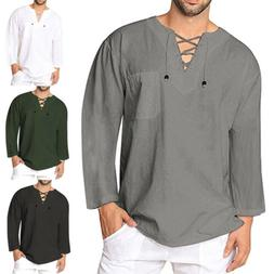 US Mens Baggy T-Shirt Cotton Linen Tee Hippie Shirts Blouse