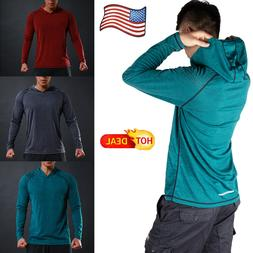 US POPULAR Men Long Sleeve Shirts Hooded Muscle Tops Casual