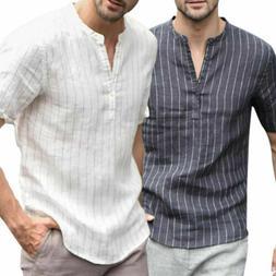 US Summer Men's Linen V Neck Short Sleeve Basic Tee T-shirt