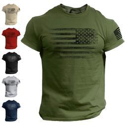 USA Distressed Flag Men T Shirt Patriotic American Tee