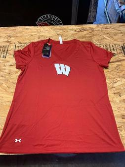 Wisconsin Badgers Womens Under Armour T Shirt LARGE  Nwt