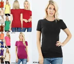 Women Basic SHORT SLEEVE CREW NECK T-Shirt Cotton Stretch Lo