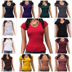 Women Basic Short Sleeve Stretch V-Neck Plain Top Solid Colo