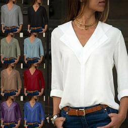 Women Chiffon Long Sleeve Blouse Summer Casual V Neck Loose