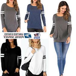 Women Long Sleeve Stripe Crew Neck Shirts Blouse Tee Sport B