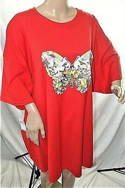 Gildan Women Plus Size 3x 3xl Heavy Cotton Red Butterfly Tee