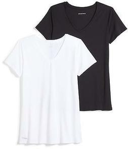 Amazon Essentials Women's 2-Pack Tech Stretch Short-Sleeve V