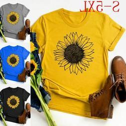 Women's Fashion Short Sleeve Sunflower Print Shirt T Shirts