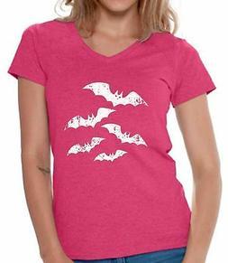 Women's Halloween Bats V-neck Shirts T shirts for Women  Cut