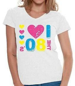 Women's I Love The 80's V-neck Shirts T shirts for Women  fo