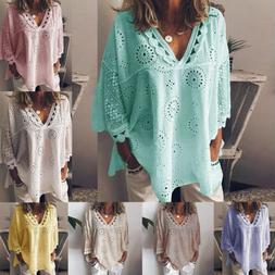 Women's V-neck  Long Sleeve T Shirts Cotton Crochet Flower L