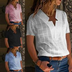 Women V-neck Solid Linen Short Sleeve Casual T-shirts Blouse