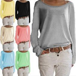 Womens Autumn Knit Shirts Loose Long Sleeve T Shirt Crew Nec