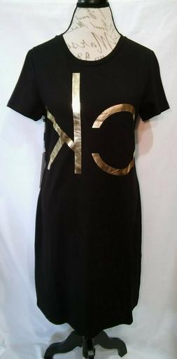 New CALVIN KLEIN Womens Cotton Blend T-Shirt Dress Black Gol