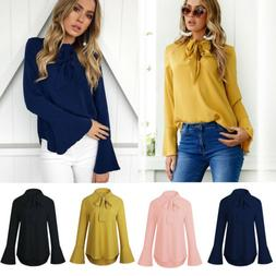 Womens Long Sleeve T-Shirts Autumn Loose Ladies OL Office Wo