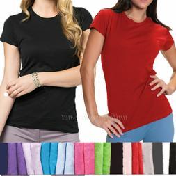 Womens T-shirt Junior's Fit Tee Shirts Crew Neck Short sleev